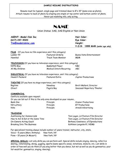 model resume free sle of acting resume template http www resumecareer