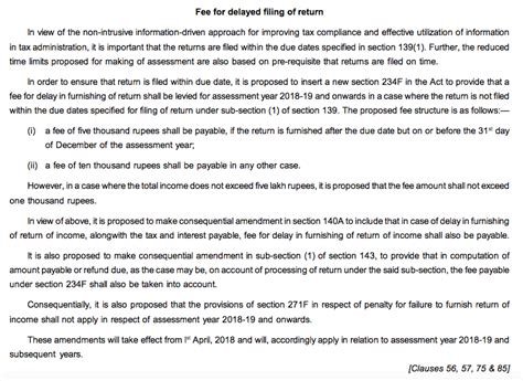 section 271f revised fee for delayed filing of income tax return