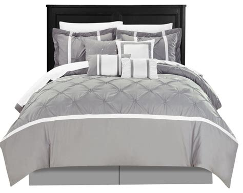 Grey Bed In A Bag Sets Vermont Grey 8 Comforter Bed In A Bag Set Transitional Comforters And Comforter