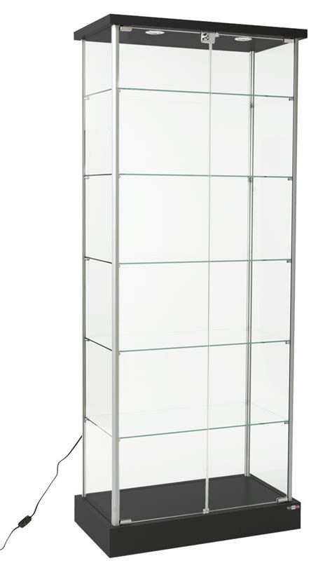 Retail Glass Display Case   (2) LED Lights & Hidden Casters