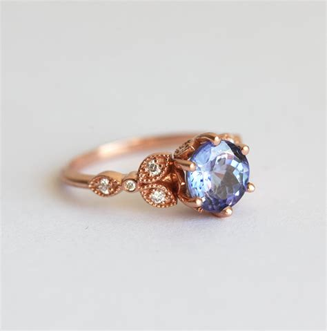 blue engagement rings tanzanite engagement ring floral engagement ring leaf