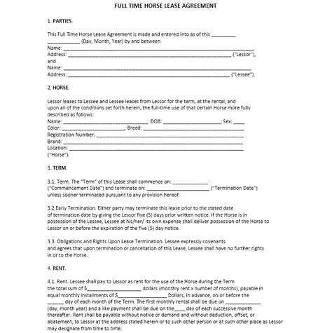 free printable horse lease agreement download free full time horse lease agreement printable