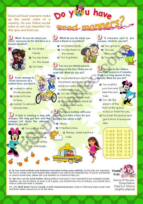 worksheets quot do you manners quot quiz for