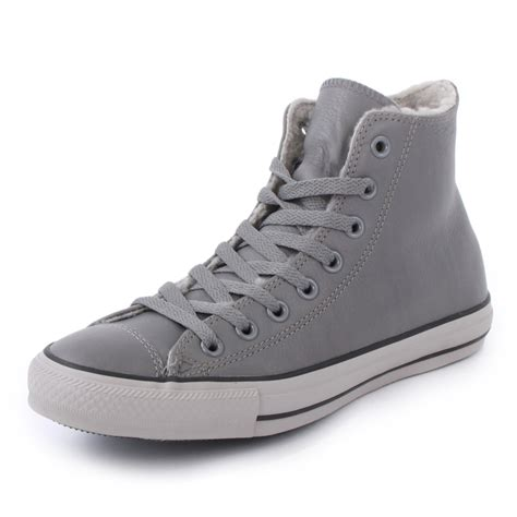 Converse Leather Grey converse grey leather high tops studio 103 co uk