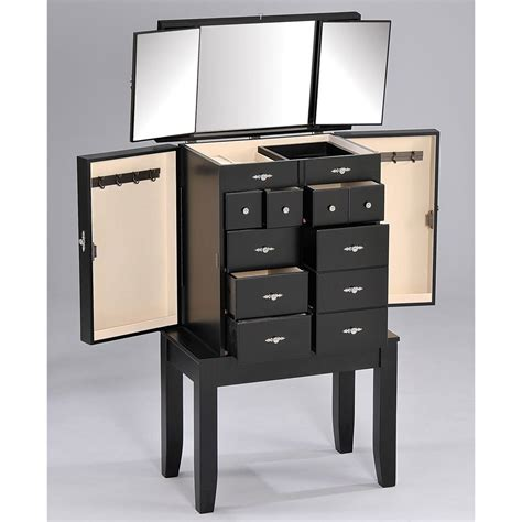 transitional jewelry armoire black standing mirrored