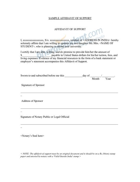 Affidavit Of Financial Support Sle Letter For Immigration Free Coloring Worksheets Abitlikethis