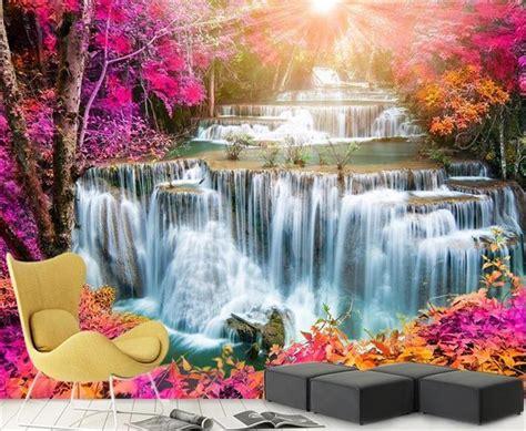 beautiful waterfalls with flowers 3d room wallpaper custom mural photo wallpaper beautiful