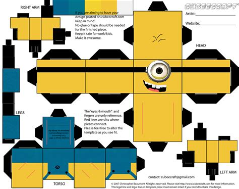 Printable Paper Crafts Templates - minion papercraft template newhairstylesformen2014