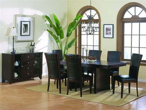 espresso finish modern dining table w optional items
