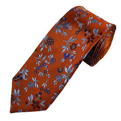 orange patterned ties orange blue red flower patterned men s silk tie from