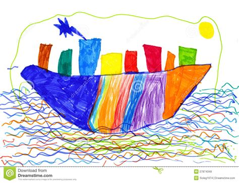 boat drawing for children s city on ship and sea children drawing royalty free stock