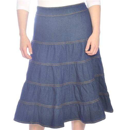 denim skirt tiered