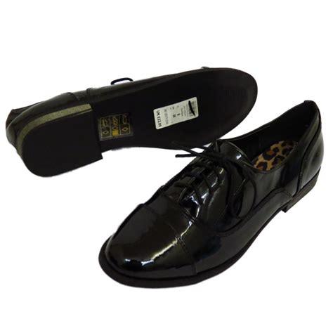 flat black lace up shoes patent flat black lace up oxford brogue work
