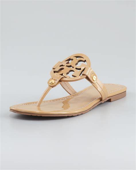 burch miller patent sandal lyst burch miller flip flop in brown save 32