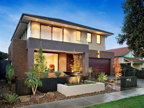 brick modern house exterior with balcony