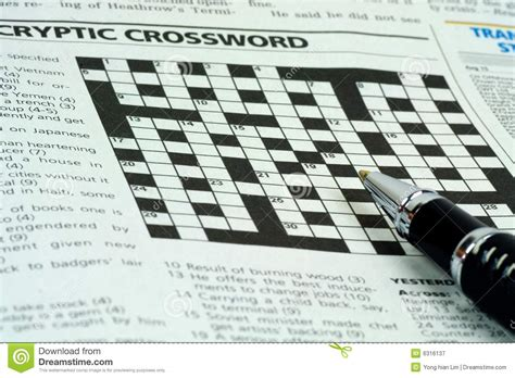 newspaper section crossword crossword puzzle royalty free stock photography image