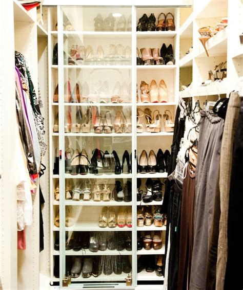 Shoe Closet With Doors Glass Front Shoe Cabinet Contemporary Closet The Coveteur