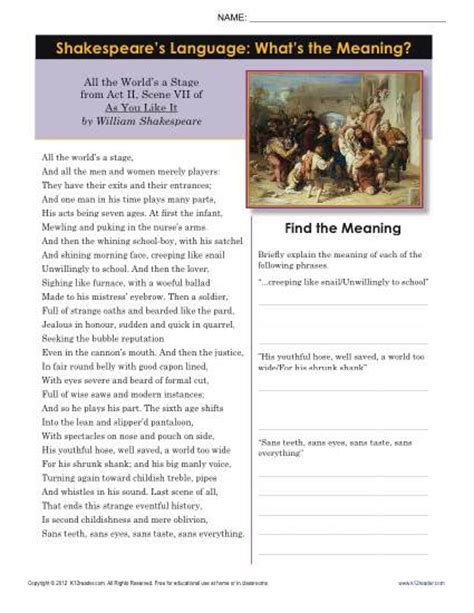 Shakespeare Worksheets by Shakespeare S Language What S The Meaning 8th Grade