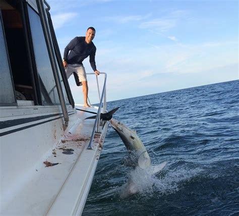 man drags shark behind boat full video mako shark jumps onto boat tracking sharks