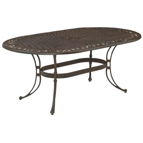 Oval Patio Table Home Styles Biscayne 72 In X 42 In Bronze Oval Patio Dining Table 5555 33 The Home Depot