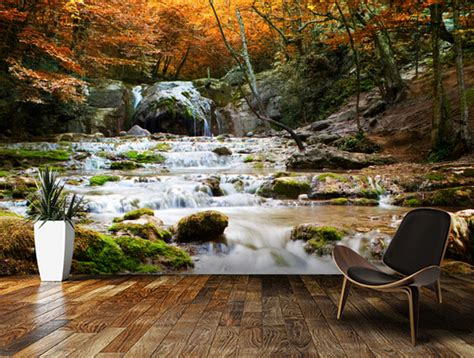 bedroom waterfalls custom photo landscape wallpaper autumn waterfall 3d for living room kitchen bedroom