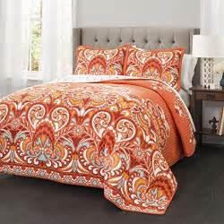 3 orange damask quilt king set all bohemian