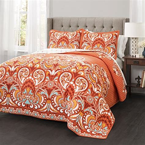 Denydesigns 3 piece orange damask quilt king set all over bohemian