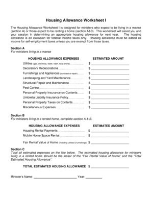 ssi housing allowance printables clergy housing allowance worksheet ronleyba worksheets printables