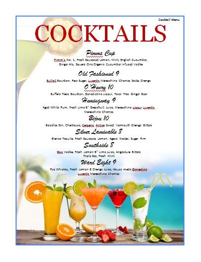 free drinks menu template cocktail menu template microsoft word templates
