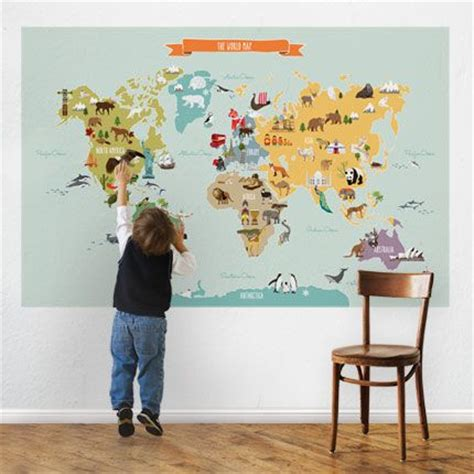 Large World Map Wall Sticker the world map peel and stick repositionable fabric