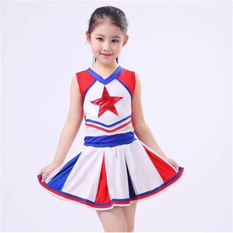 toddler dance cheer uniform royal blue white red aerobics basketball football girls