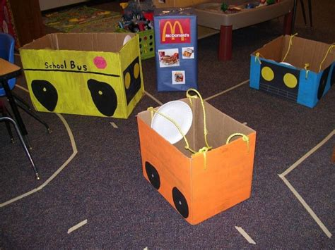 box ideas for kindergarten box cars for transportation unit i taped roads all