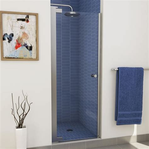 Lowes Frameless Glass Shower Doors Shop Maax Madono 24 5 In To 26 5 In Polished Chrome Frameless Pivot Shower Door At Lowes