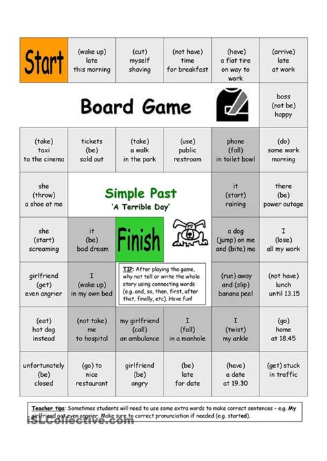 Printable Games For Past Tense | board game a terrible day simple past repinned by