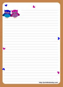 stationery templates owl writing paper