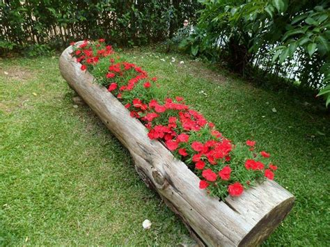 hollowed out log planter garden ideas when i get