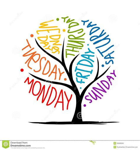 week photos tree design with 7petal days of week stock vector