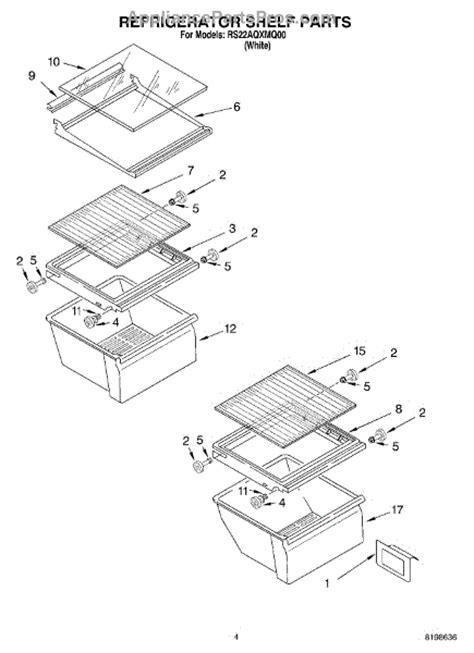 roper refrigerator parts diagram parts for roper rs22aqxmq00 refrigerator shelf parts