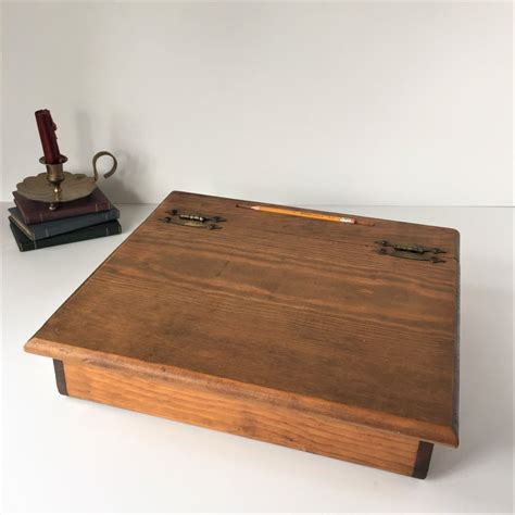 vintage lap desk wooden writing box portable writing