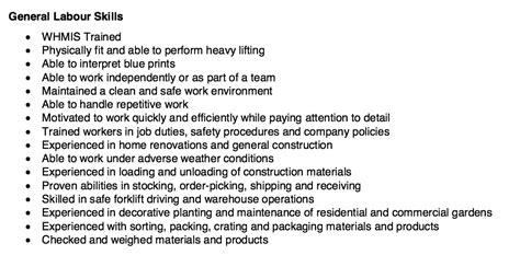 General Labor Skills For Resume