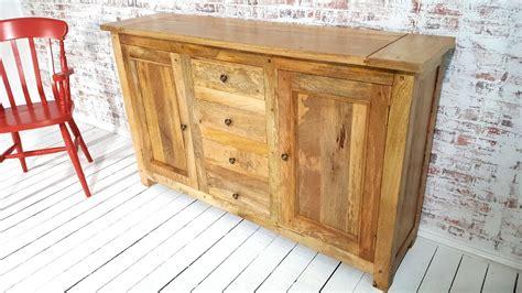 rustic natural hardwood sideboard room storage unit hutch
