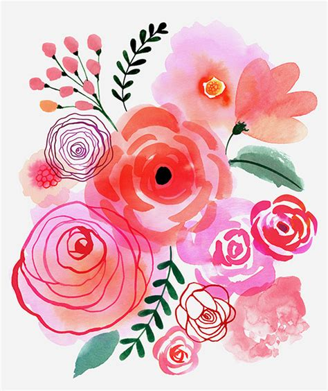 Flower Design Pinterest | margaret berg art pink blooms flowers watercolor