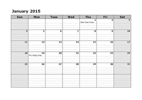 Free Blank Calendar Template 2015