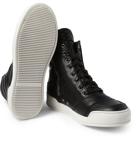 balmain leather hightop sneakers in black for lyst