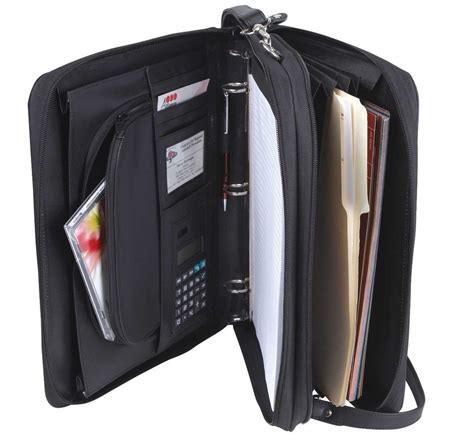 professional leather binders leatherette 3 ring binder folder portfolio organizer planner w briefcase handle ebay