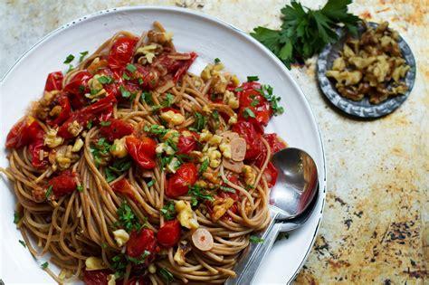 tomato pasta recipe burst tomato pasta with charred walnuts