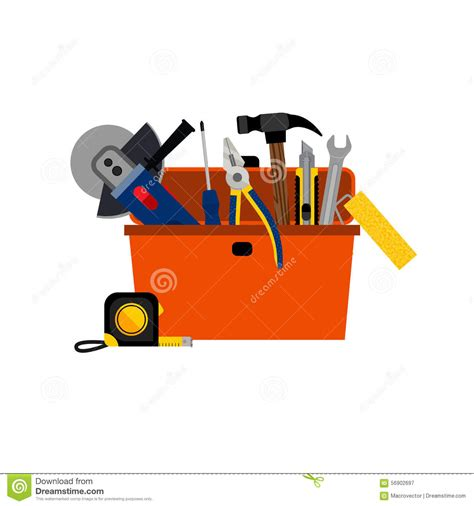 toolbox for diy house repair stock vector image 56902697