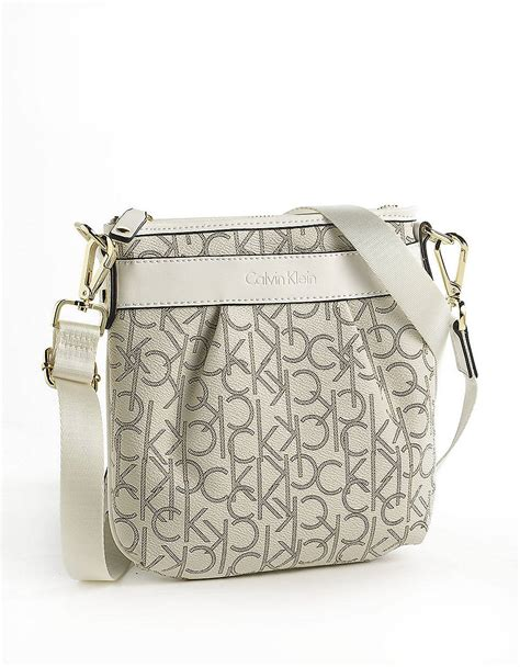 calvin klein monogram crossbody bag  beige almondkhaki