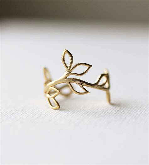 delicate leaf branch ring silver or gold everyday jewelry