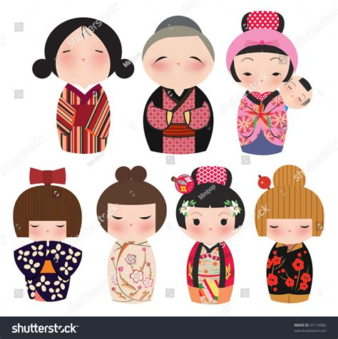 Japanese Wedding Clip by Series Japanese Kokeshi Characters Stock Vector